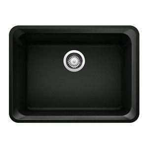 Évier de cuisine Vision, simple, sous plan, de BLANCO, 24,09 po x 18 po, noir charbon, 1 trou