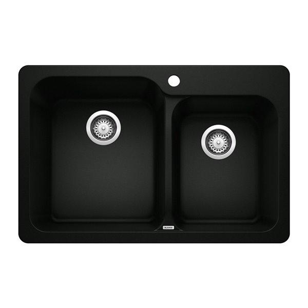 Évier de cuisine encastré double Vision de BLANCO, 31,5 po x 20,67 po, 1 trou, noir charbon