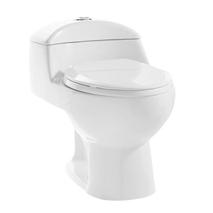 Toilette Chateau à double chasse hauteur confortable en blanc brillant plomberie brute de 12 po par Swiss Madison