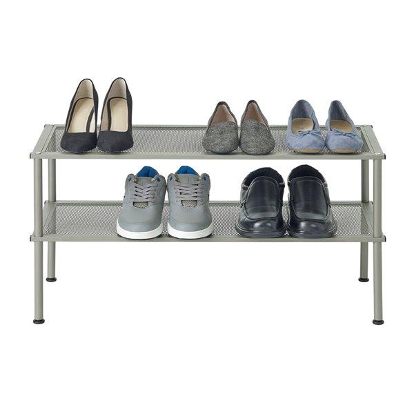 Support pour souliers en métal à 2 niveaux Neatfreak, 8 paires, gris