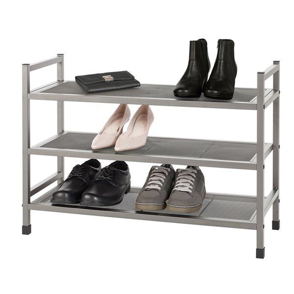 Support pour souliers en métal à 3 niveaux Neatfreak, 14 paires, nickel brossé