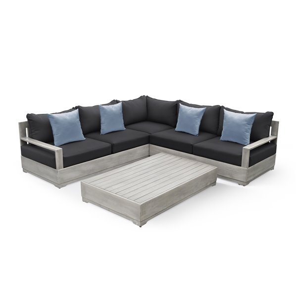 Ove Decors Beranda Grey Wood Frame Patio Conversation Set with Cushions Included - 3-Pieces