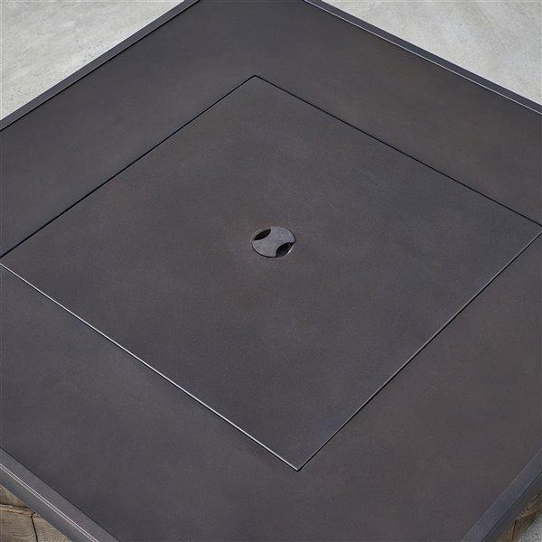 Table-foyer Farmingham à gaz naturel en pierre brun foncé, 35,98 po, 50 000 BTU, par OVE Decors