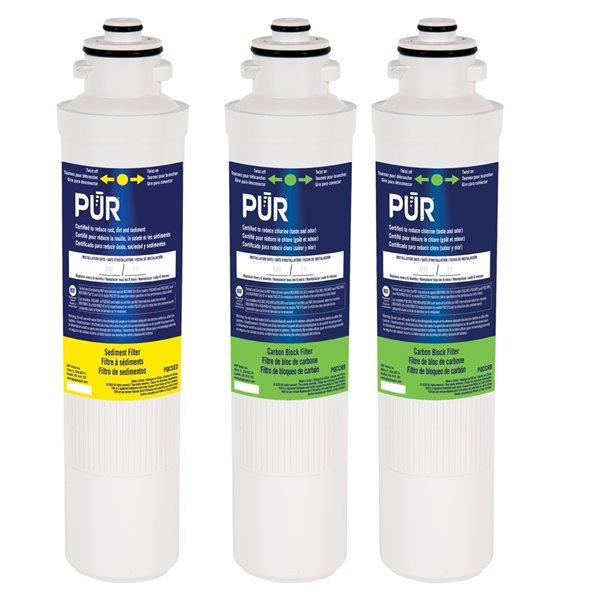Filtre de rechange à bloc de carbone sous évier de PUR, paquet de 3