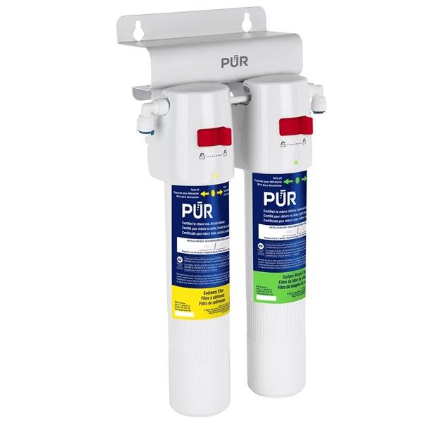 Système de filtration d'eau sous évier à deux étapes avec bloc de carbone par PUR