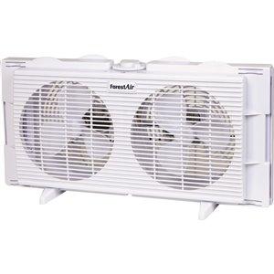 Ventilateur intérieur double pour fenêtre, blanc, 3 vitesses, 7 po, par Forest Air