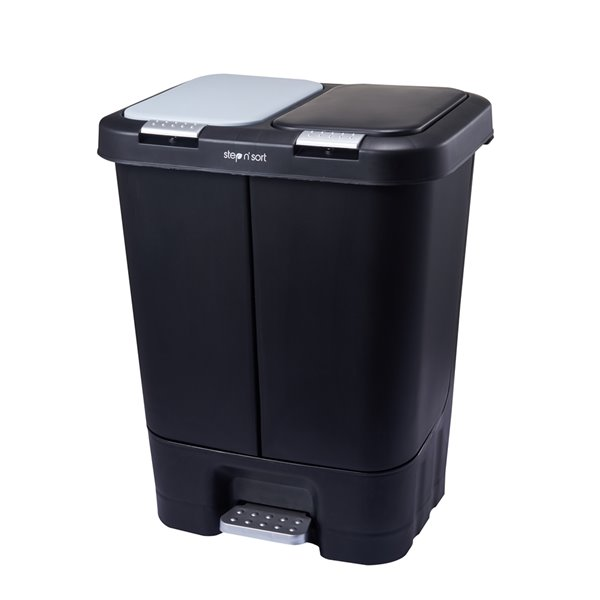 Poubelle et bac de recyclage noir de 40 L par Step N' Sort avec couvercles inclus