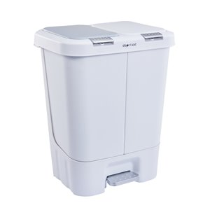 Poubelle et bac de recyclage blanc de 40 L par Step N' Sort avec couvercles inclus