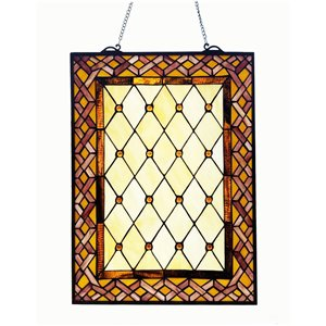 Fine Art Lighting Arts & Crafts Black Metal Framed 24-in H x 18-in W Vintage/retro Glass Wall Panel