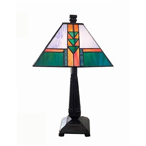 Fine Art Lighting Ltd. 17-in Walnut Finish Base Integrated Led On/off Switch Table Lamp With Tiffany-style Shade
