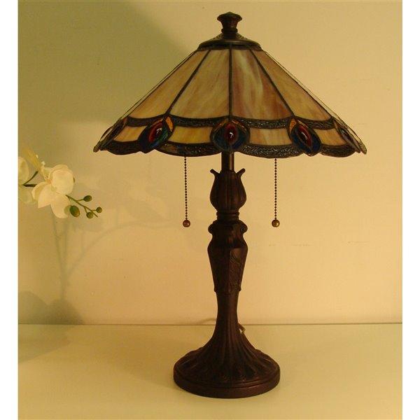 Lampe de table avec chaîne et abat-jour de style Tiffany, bronze vintage DEL, 22 po, de Fine Arts Lighting Ltd.