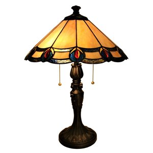 Fine Art Lighting Ltd. 22-in Vintage Bronze Integrated Led Pull-chain Table Lamp With Tiffany-style Shade