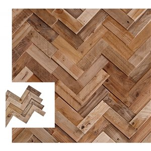 Planche décorative en pin recyclé Herringbone de Timberwall, 1/2 po x 18 po