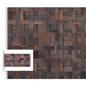 Planche décorative teinte en mosaïque Tressage de Timberwall, 1/4 po x 12 po, chêne gris