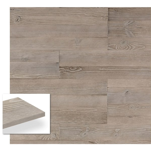Planche décorative teinte en pin Weld de Timberwall, 1/2 po x 5 po, argent