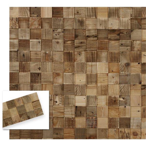 Planche décorative en pin recyclé Cubes de Timberwall, 1/2 po x 8 po