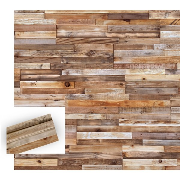 Timberwall 1/2-in x 8-in Reclaimed Stripes Square Unfinished Pine Board