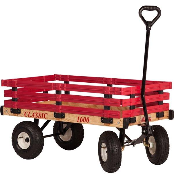 Chariot classique pour enfants 20 po x 38 po avec ridelles en poly par Millside
