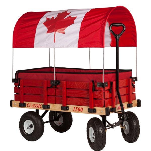 Chariot classique pour enfants par Millside avec auvent du drapeau canadien et coussins