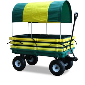 Chariot de 20 po x 38 po en poly par Millside, jaune et vert