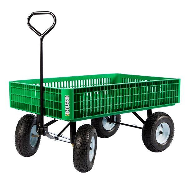 Chariot de type caisse en plastique vert par Millside avec poignée en acier et 4 roues pneumatiques, 30 po x 46 po