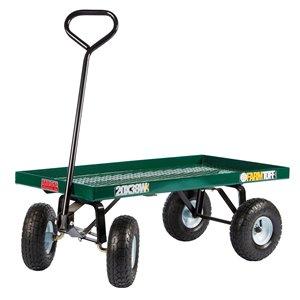Chariot à plate-forme en plastique vert 1 pi³ par Millside avec poignée en acier et 4 roues increvables, 20 po x 38 po