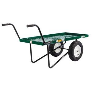 Chariot de poussée en acier vert de 1 pi³ par Millside avec poignée en acier et 2 roues pneumatiques, 24 po x 48 po