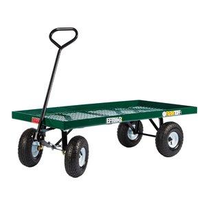 Chariot à plate-forme en acier de 1 pi³ vert par Millside avec poignée en acier et 4 roues pneumatiques, 24 po x 48 po