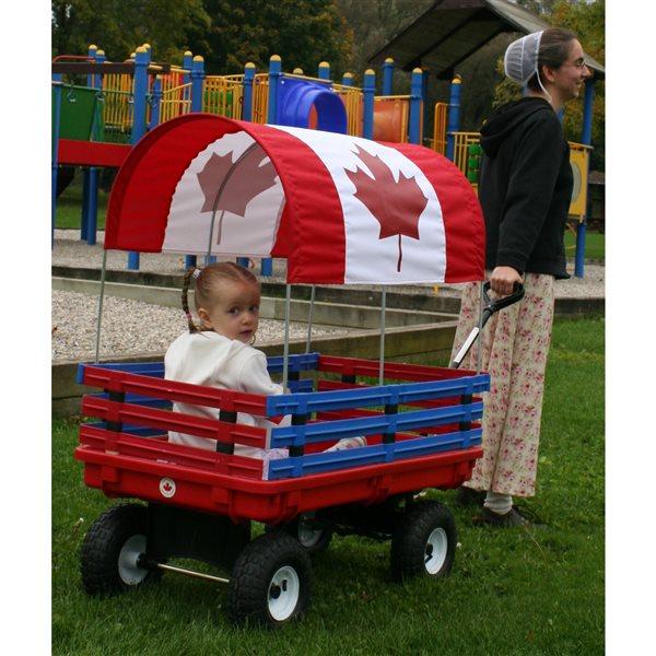 Chariot de 20 po x 38 po avec drapeau canadien par Millside avec ridelles en poly amovible