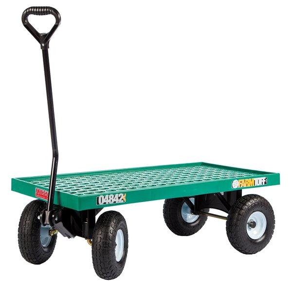 Chariot à plate-forme en plastique vert par Millside avec poignée en acier et 4 roues pneumatiques, 20 po x 40 po
