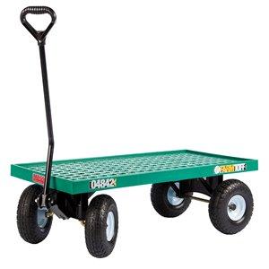 Chariot à plate-forme en plastique vert de 1 pi³ par Millside avec poignée en acier et 4 roues pneumatiques, 20 po x 40 po