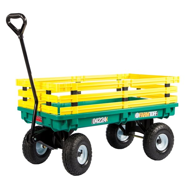 Chariot robuste de 20 po x 38 po par Millside, jaune et vert