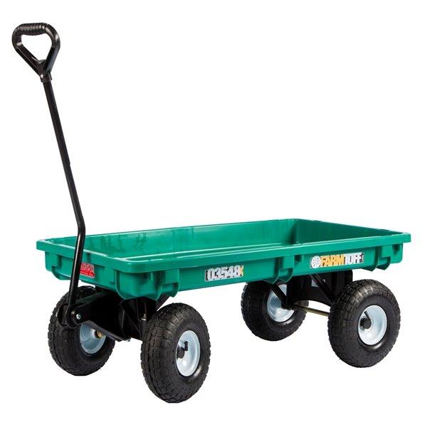 Chariot à plate-forme en plastique vert par Millside avec poignée en acier et 4 roues increvables, 20 po x 38 po