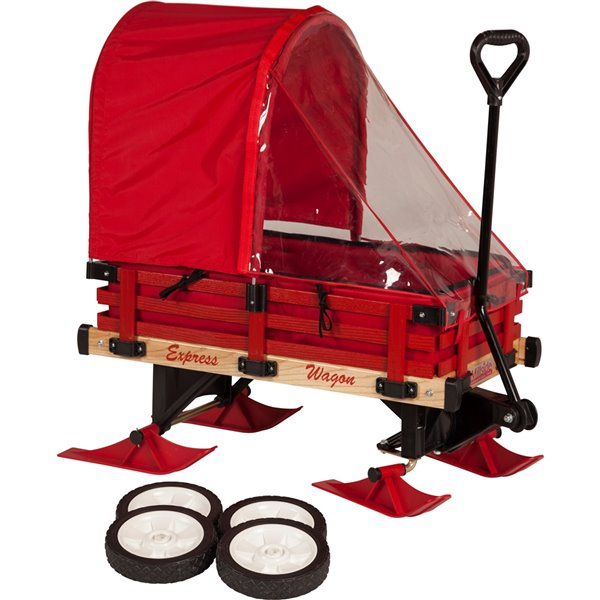 Millside Deluxe Hardwood Convertible Sleigh Wagon with Pads, Full Canopy and Skis
