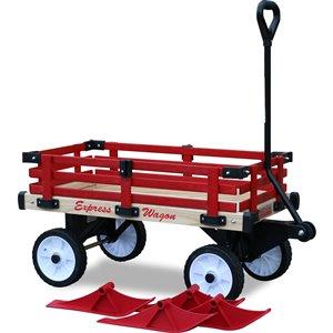 Chariot en bois de luxe par Millside avec roues en plastique de 8 po et skis convertibles, lot de 4