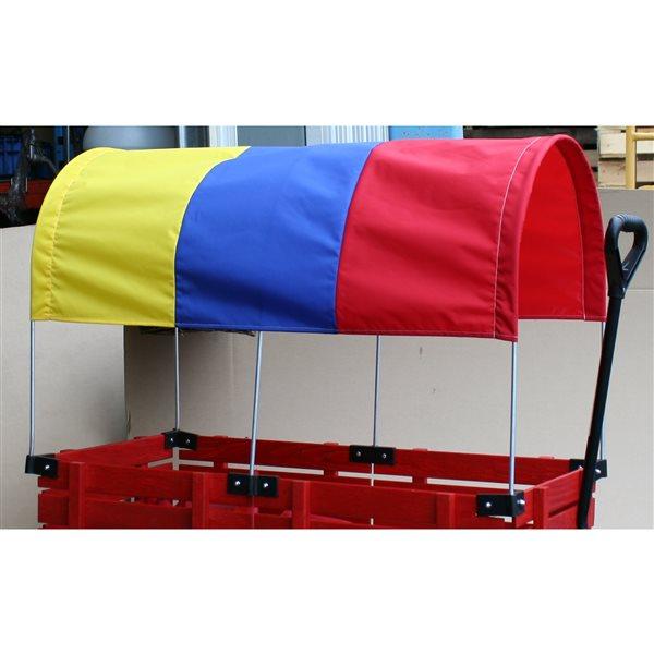 Auvent bleu, jaune et rouge pour chariot de 20 po x 38 po par Millside
