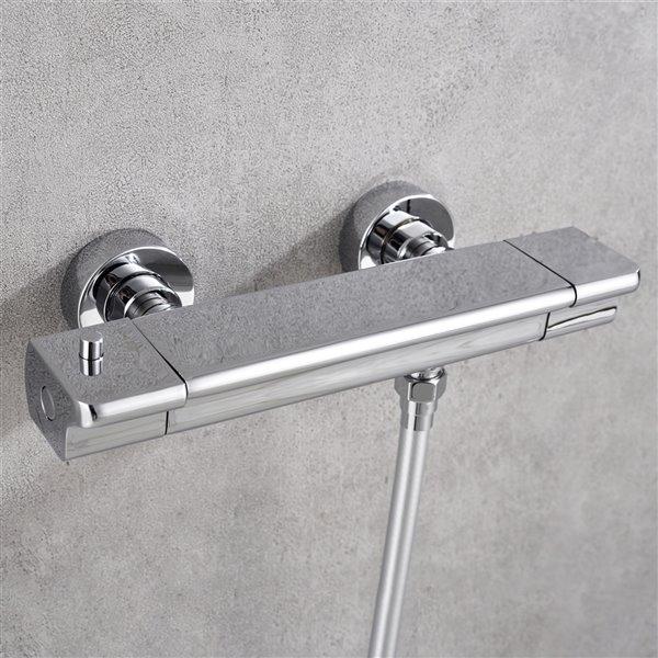 Système de douche avec barre ajustable Brayden par Jade Bath, chrome poli