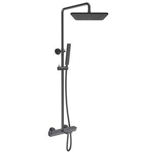 Système de douche avec barre ajustable Jacki par Jade Bath, bronze industriel brossé