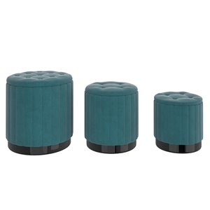 !nspire Modern Teal Velvet Round Integrated Storage Ottoman