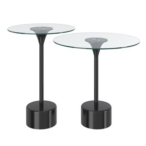 !nspire Glass Accent Table Set With Black Base - 2-Pieces