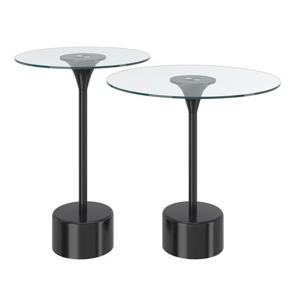Ensemble de tables d'appoint en verre avec base en noir de !nspire, ens. de 2