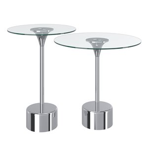 !nspire Glass Accent Table Set With Chrome Base - 2-Pieces