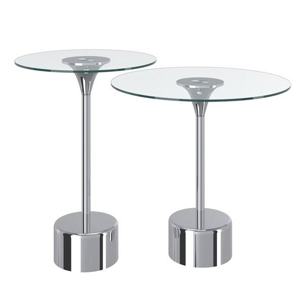 Ensemble de tables d'appoint en verre avec base en chrome de !nspire, ens. de 2