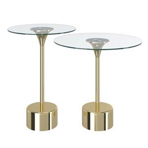 Ensemble de tables d'appoint en verre avec base en or de !nspire, ens. de 2