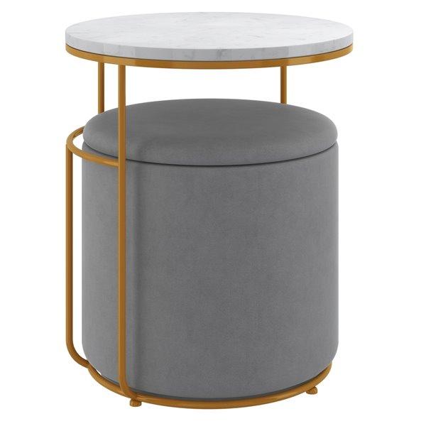 Table d'appoint blanche avec ottoman gris de !nspire
