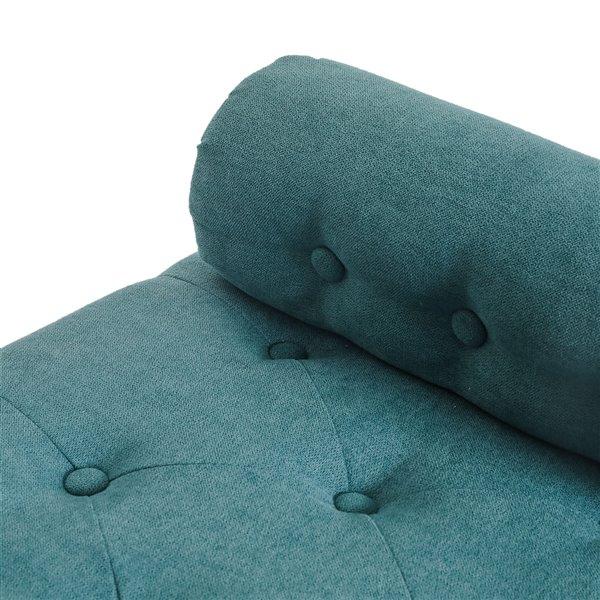 Ottoman moderne rectangulaire en polyester aqua avec rangement intégré de !nspire