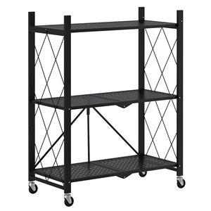 WHI 27.95-in D x 13.39-in W x 35.43-in H 3-tier Metal Utility Shelf