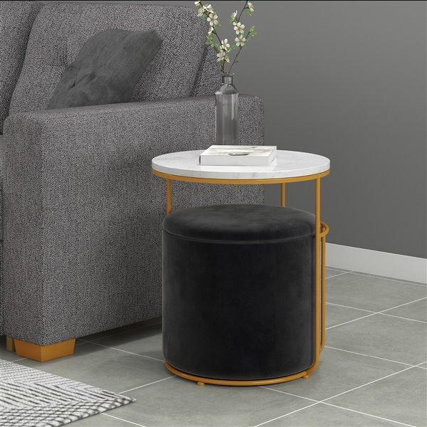 Table d'appoint blanche avec ottoman noir de !nspire