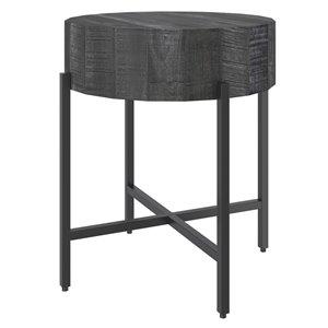 Table d'appoint ronde en bois gris de !nspire