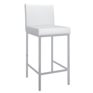 !nspire White Counter Height (22-in to 26-in) Upholstered Bar Stool - 2-Pack